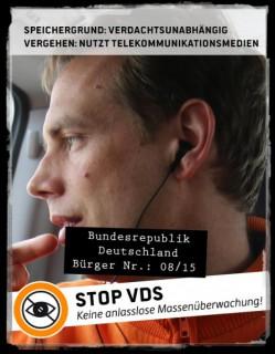 Unterhttp://piratisierer.de/stopvdskönnt ihr mit eurem Gesicht und einem vorbereiteten Slogan gegen die geplante Vorratsdatenspeicherung protestieren. Teilt eure Protestfotos mit anderen, um sie auf die Gefahren einer Totalprotokollierung unserer Kommunikation hinzuweisen!