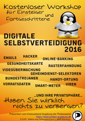 "Crypto-Workshop ""Digitale Selbstverteidigung"" @ Gasthof Schmid in Neusäß-Täfertingen"